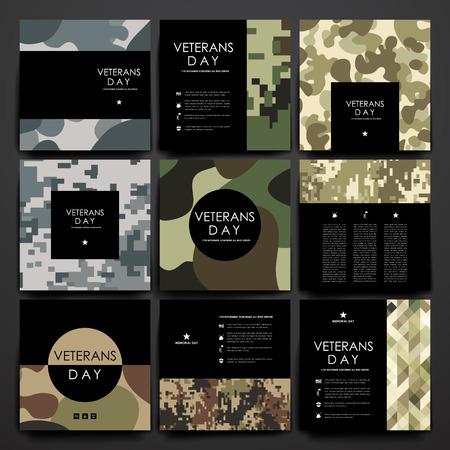 conflicto: Conjunto de folletos, plantillas de carteles en el diseño de los veteranos de estilo días y el diseño