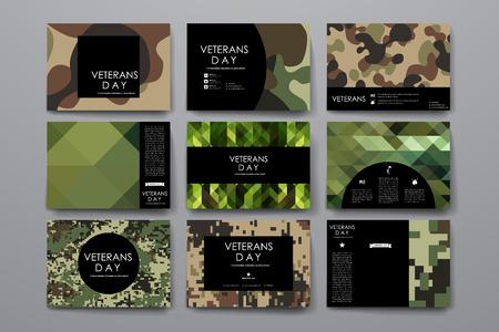 wojenne: Zestaw broszura, plakat w projektowaniu szablonów weterani dni stylu i układu Ilustracja