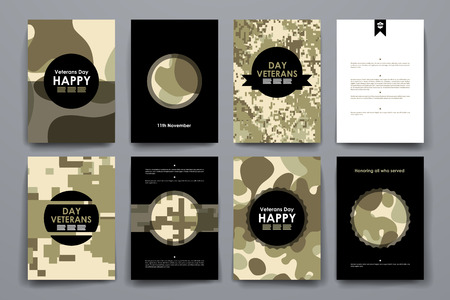 day: Set of brochure, poster templates in veterans day style design and layout