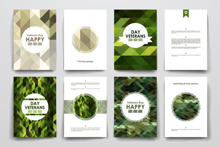 Set van brochure, poster sjablonen in veteranen dag stijl en lay-out Stock Illustratie