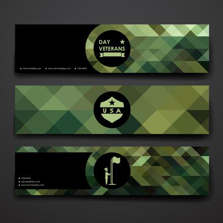 stile: Set di design moderno banner template design veterani stile giorno e il layout