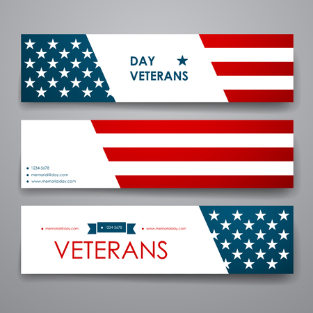Set van modern design banner template in veteranen dag stijl en lay-out Stock Illustratie