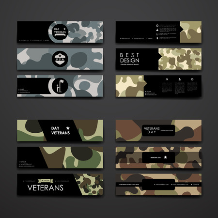 Set of modern design banner template in veterans day style design and layout
