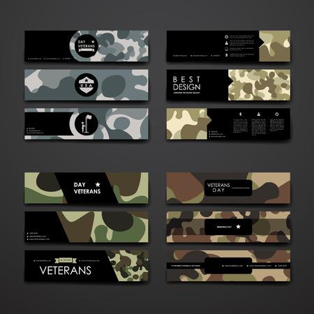 Set van modern design banner template in veteranen dag stijl en lay-out Stock Illustratie