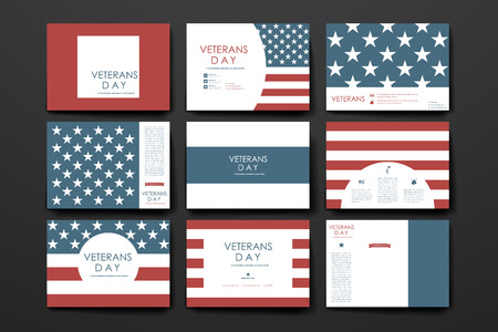 american flags: Set of brochure, poster templates in veterans day style design and layout