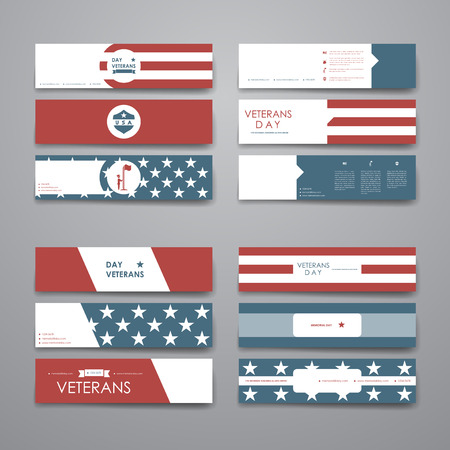 army background: Set of modern design banner template in veterans day style design and layout