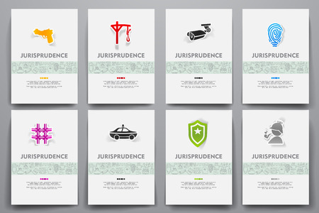 jurisprudencia: Corporate identity templates set with doodles jurisprudence theme Vectores