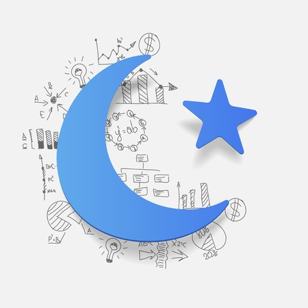 muslim prayer: Drawing business formulas: moon and star