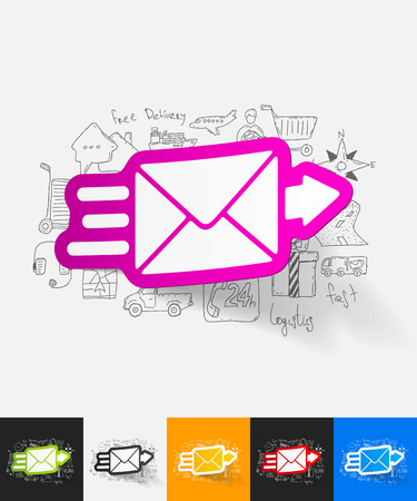 registered mail: hand drawn simple elements with envelope paper sticker shadow