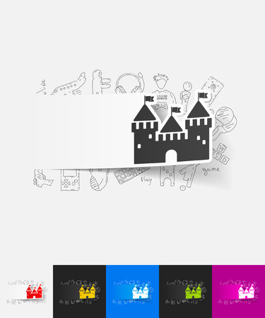 fortress: hand drawn simple elements with fortress paper sticker shadow Illustration