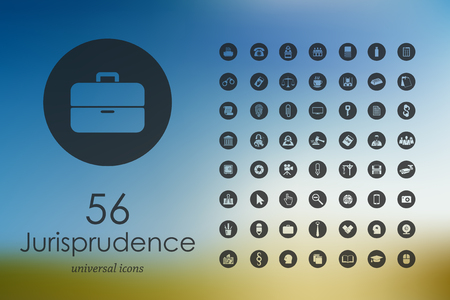 jurisprudence modern icons for mobile interface on blurred background Illustration
