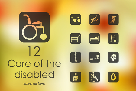happy old people: people with disabilities modern icons for mobile interface on blurred background