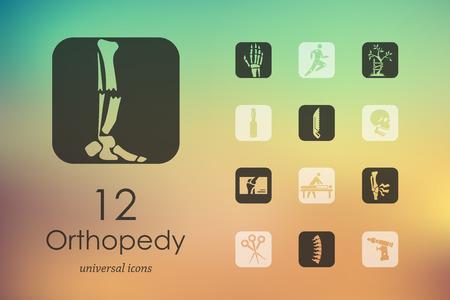 fisioterapia: Ortopedia iconos modernos para la interfaz móvil en el fondo borroso