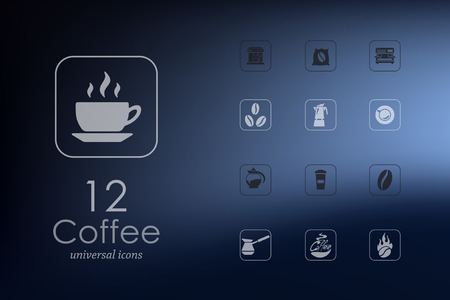 soluble: coffee modern icons for mobile interface on blurred background