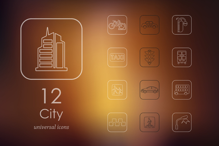 city background: city modern icons for mobile interface on blurred background Illustration