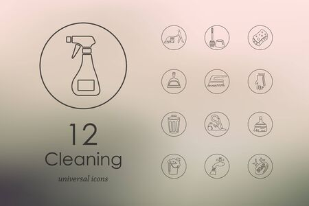 cleaning equipment: cleaning modern icons for mobile interface on blurred background