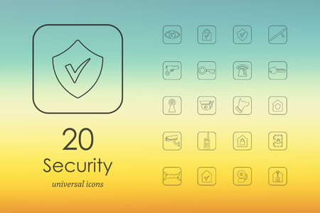 space background: security modern icons for mobile interface on blurred background