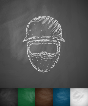 dignity: man in helmet icon. Hand drawn illustration