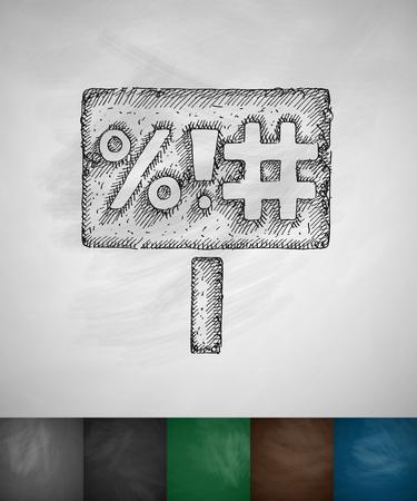 manifest: sign with the slogan icon. Hand drawn illustration Illustration