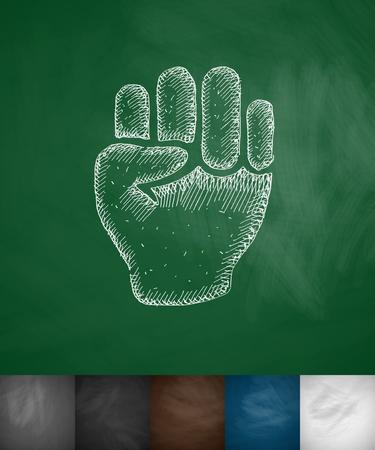 bruise: fist icon. Hand drawn illustration