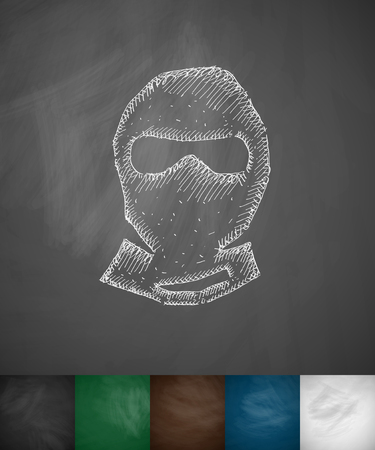 slavery: man in balaclava icon. Hand drawn illustration