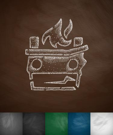 misfortune: flame icon. Hand drawn illustration