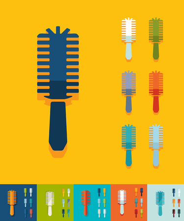 hair brush: hair brush icon in flat design with long shadows. Vector illustration