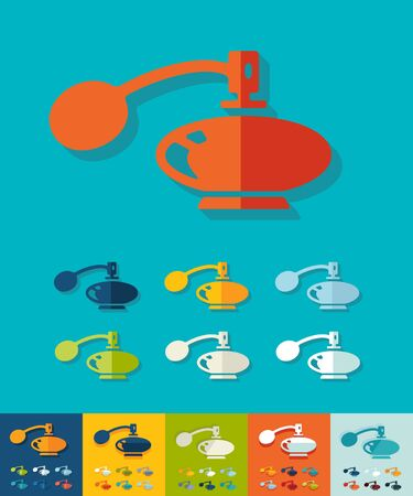 perfume bottle: perfume bottle icon in flat design with long shadows. Vector illustration Illustration