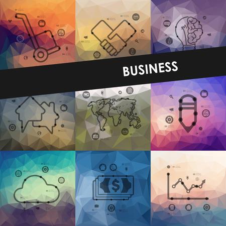 banking concept: business timeline presentations with blurred unfocused background Illustration