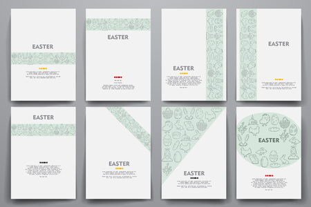 Corporate identity vector templates set with doodles easter theme. Target marketing concept Illustration
