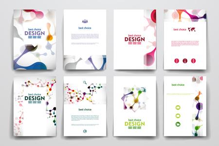 portadas: Conjunto de folleto, plantillas de carteles en el estilo de molécula de ADN. Hermoso diseño Vectores