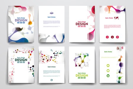 Set of brochure, poster templates in DNA molecule style. Beautiful design Vettoriali