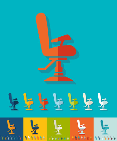 barber chair: barber chair icon in flat design with long shadows. Vector illustration