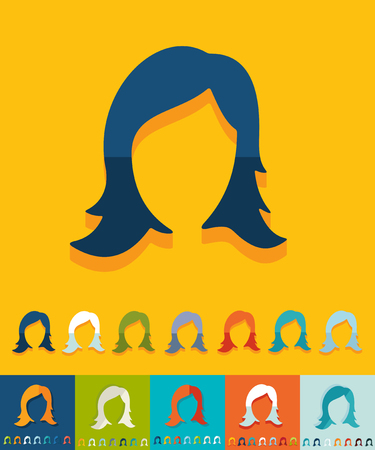 hair styling: hair styling icon in flat design with long shadows. Vector illustration