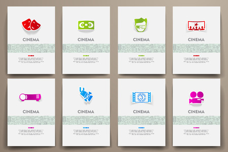 film industry: Corporate identity vector templates set with doodles cinema theme. Target marketing concept