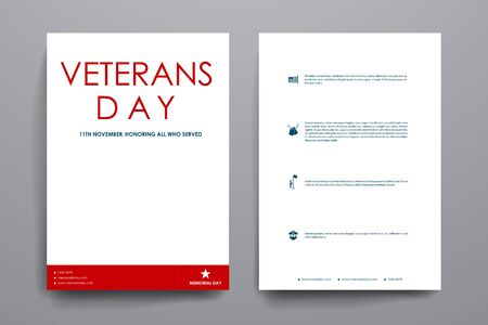 broshure: Set of brochure, poster templates in veterans day style. Beautiful design and layout