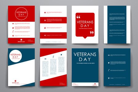 american army: Set of brochure, poster templates in veterans day style. Beautiful design and layout