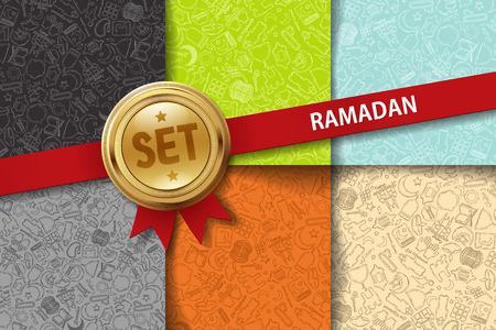 quran: Set of ramadan backgrounds with hand drawing icons in different colors Illustration
