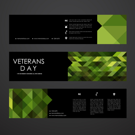 military history: Set of modern design banner template in veterans day style. Beautiful design and layout