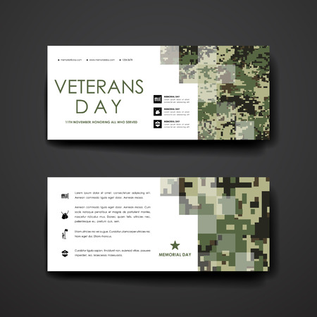 Set van modern design banner template in veteranen dag stijl. Mooi design en lay-out Stock Illustratie