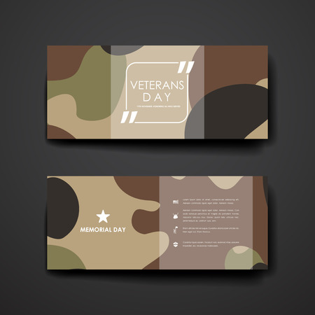 Set van modern design banner template in veteranen dag stijl. Mooi design en lay-out Stock Illustratie