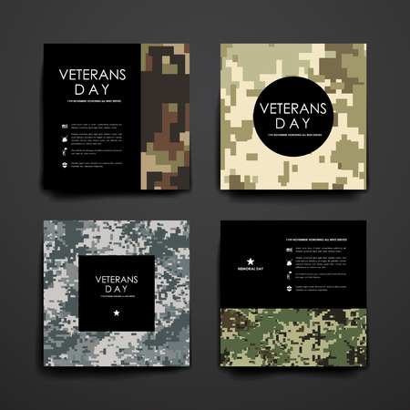 veteran: Set of brochure, poster templates in veterans day style. Beautiful design and layout