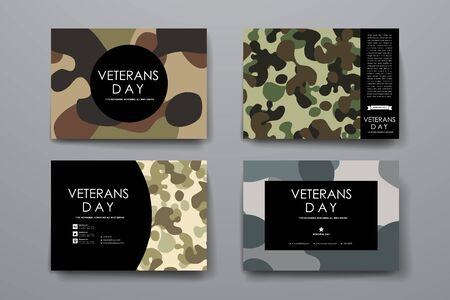 veterans day: Set of brochure, poster templates in veterans day style. Beautiful design and layout
