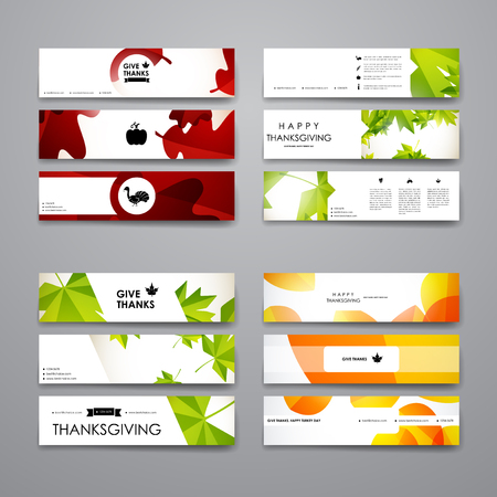 Set of modern design banner template in autumn style. Beautiful design and layout