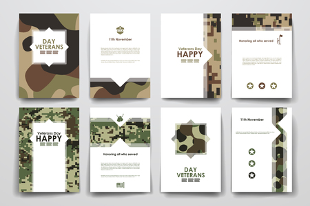 Set of brochure, poster templates in veterans day style. Beautiful design and layout