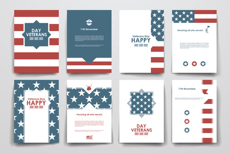 flag background: Set of brochure, poster templates in veterans day style. Beautiful design and layout