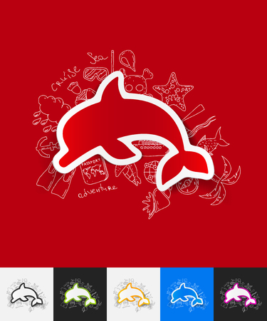 dolphin jumping: hand drawn simple elements with dolphin paper sticker shadow Illustration