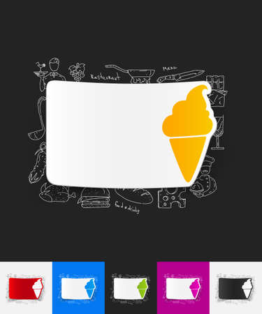 soft serve ice cream: hand drawn simple elements with ice cream paper sticker shadow Illustration