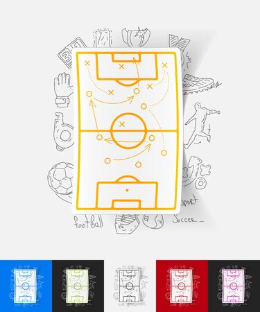 soccer sport: hand drawn simple elements with playing field paper sticker shadow Illustration