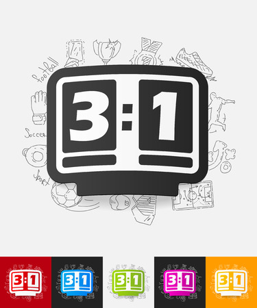 showground: hand drawn simple elements with score board paper sticker shadow